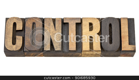 control word in wood type stock photo, control - isolated word in vintage letterpress wood type by Marek Uliasz