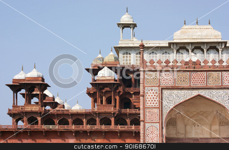 Tomb of Akbar the Great stock photo, architectural detail showing a part of the Tomb of Akbar the Great by prill