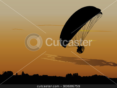 Powered paraglide stock vector clipart, Silhouette of powered paraglide or paramotor against sunset sky by Ints Vikmanis