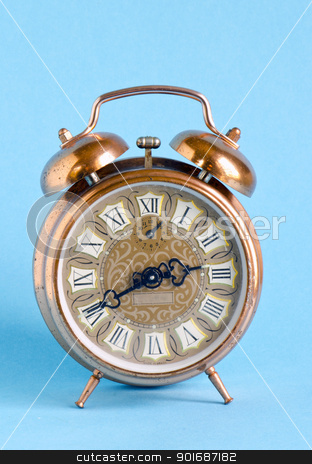 Retro vintage clock roman numbers blue background