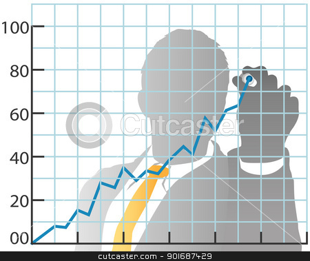 Business man drawing sales market share chart stock vector clipart, Business person drawing sales market share chart from behind with marker by Michael Brown
