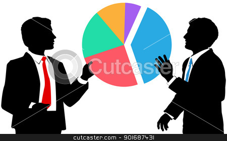 usiness people join market share pie chart stock vector clipart, Two business people work together to connect pieces of a sales or market share pie chart by Michael Brown