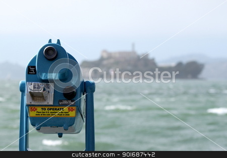 Alcatraz View stock photo, San Francisco Alcatraz in the background with water from the bay in the front. by Henrik Lehnerer