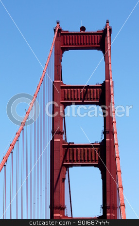 Golden Gate stock photo, One of the most famous bridges in the US, the Golden Gate. by Henrik Lehnerer
