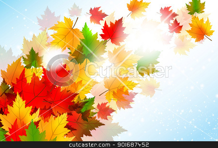 Vibrant Autumn Maple Leaf Background stock vector clipart, Beautiful illustration of maple leaves blowing in the wind and sun rays coming through. by Liviu Peicu