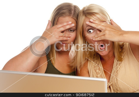Two Shocked Women Using Laptop stock photo, Two Shocked Women Using Laptop Isolated on a White Background. by Andy Dean