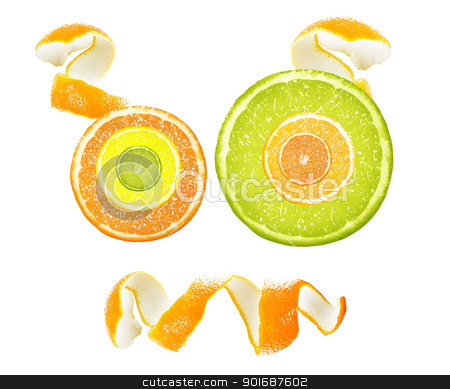 orange slices stock photo, Cartoon face created from orange slices and peel. by Designsstock