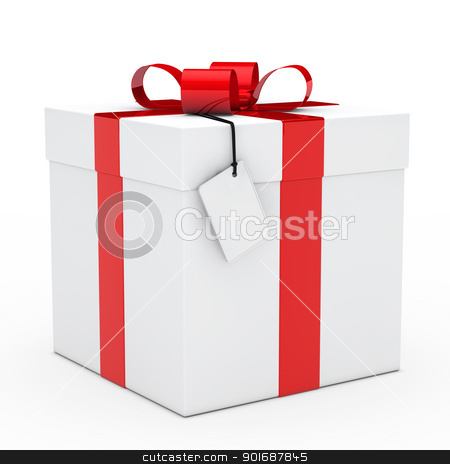 gift box red ribbon stock photo, christmas white gift box red ribbon signboard by d3images