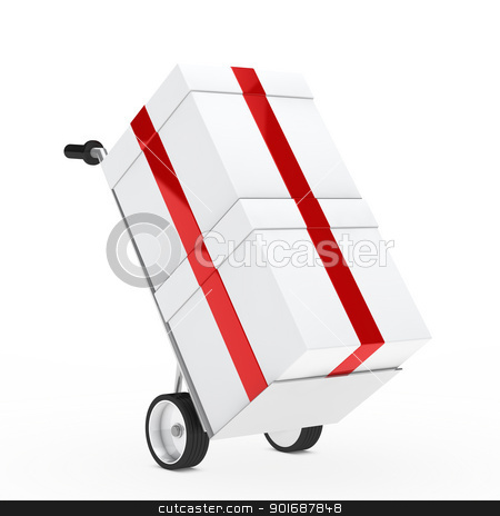 gift box hand truck stock photo, christmas gift box red ribbon hand truck by d3images