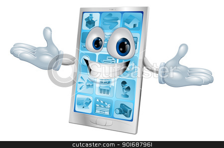 Happy smiling silver and blue phone stock vector clipart, Happy smiling silver and blue phone cartoon character or mascot by Christos Georghiou