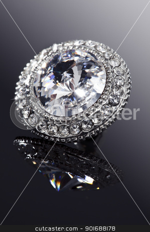 diamond jewelry stock photo, closeup of faux diamond earring by Liv Friis-Larsen