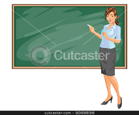 Businesswoman presentation stock vector clipart, Businesswoman presentation by Agung Setya Nugraha