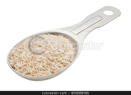 spoon of psyllium seed husks  stock photo, psyllium seed husks - dietary supplement, source of soluble fiber, on a n old aluminum measuring tablespoon by Marek Uliasz