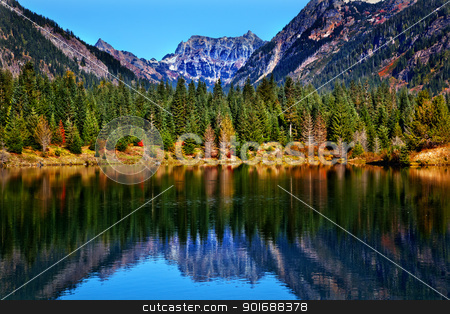 Gold Lake Reflection Mt Chikamin Peak Snoqualme Pass Washington stock photo,  Gold Lake Reflection Mount Chikamin Peak Fall Snoqualme Pass Wenatchee National Forest Wilderness Washington by William Perry