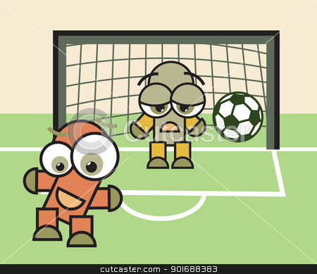 lucky forwarder and sad goalkeeper stock vector clipart, Football (soccer) game match. Happy forwarder and sad goalkeeper cartoon characters with ball. Vector illustration.  by antkevyv