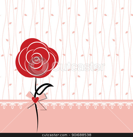 Card design with red rose stock vector clipart, Card design with red rose on white pink seamless background by meikis