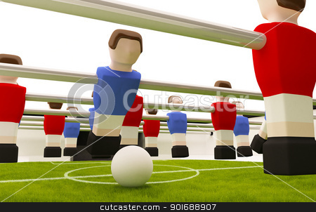 Table soccer stock photo, Table soccer game red versus blue players by Giordano Aita