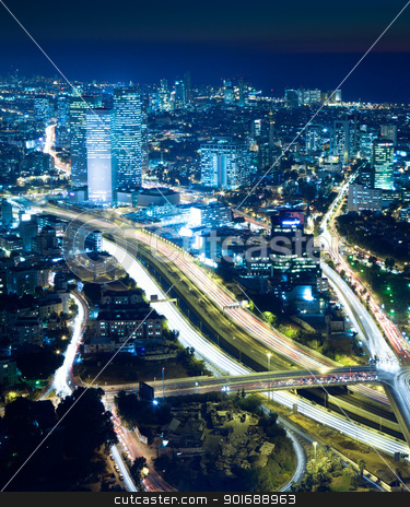 Cityscape at night stock photo, Night city, Tel Aviv at night, Crossroad Traffic by Dmitry Pistrov