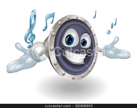 Speaker man character stock vector clipart, Illustration of a smiling cartoon speaker man character by Christos Georghiou