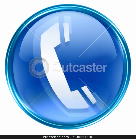 phone icon blue, isolated on white background stock photo, phone icon blue, isolated on white background by Andrey Zyk
