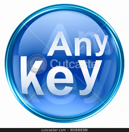 Any Key icon blue, isolated on white background stock photo, Any Key icon blue, isolated on white background by Andrey Zyk