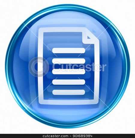 Document icon blue, isolated on white background stock photo, Document icon blue, isolated on white background by Andrey Zyk