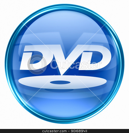 DVD icon blue, isolated on white background.  stock photo, DVD icon blue, isolated on white background.  by Andrey Zyk