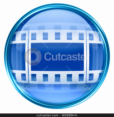 Film icon blue, isolated on white background. stock photo, Film icon blue, isolated on white background. by Andrey Zyk