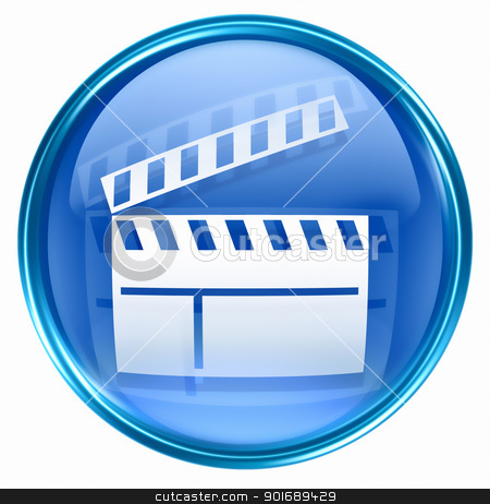 movie clapper board icon blue, isolated on white background. stock photo, movie clapper board icon blue, isolated on white background. by Andrey Zyk