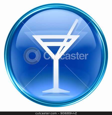 wine-glass icon blue, isolated on white background. stock photo, wine-glass icon blue, isolated on white background. by Andrey Zyk