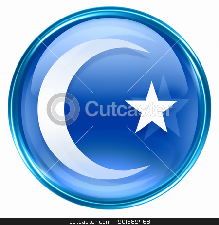 moon and star icon blue, isolated on white background. stock photo, moon and star icon blue, isolated on white background. by Andrey Zyk