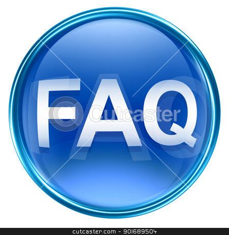 FAQ icon blue glass, isolated on white background stock photo, FAQ icon blue glass, isolated on white background by Andrey Zyk