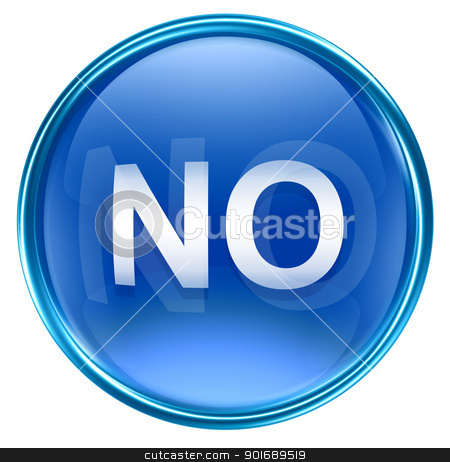 NO icon blue, isolated on white background stock photo, NO icon blue, isolated on white background by Andrey Zyk