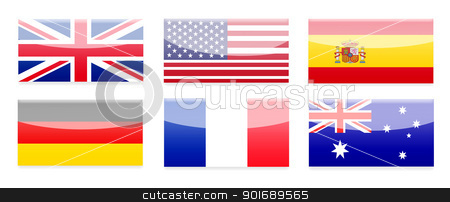 Country Flag Buttons stock photo, Country Flag buttons. Isolated on white.  by Michael Osterrieder