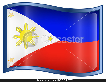 Philippines Flag Icon stock photo, Philippines Flag Icon, isolated on white background. by Andrey Zyk