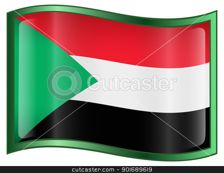 Sudan Flag Icon stock photo, Sudan Flag Icon, isolated on white background. by Andrey Zyk