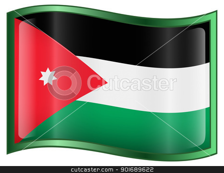Jordan Flag Icon stock photo, Jordan Flag Icon, isolated on white background. by Andrey Zyk