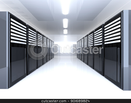 Server Room stock photo, 3d Illustration. by Michael Osterrieder