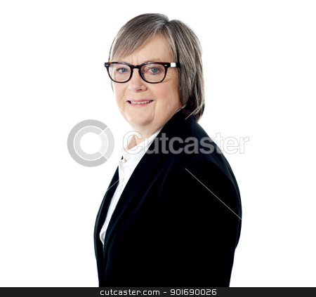 Elderly corporate female, closeup shot stock photo, Elderly corporate female, closeup shot. Smiling by Ishay Botbol