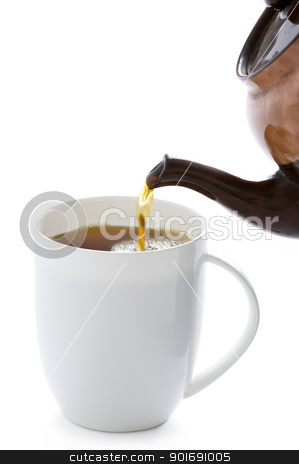 making a cup of tea stock photo, pouring tea from a tea pot into a white cup by Lee Avison