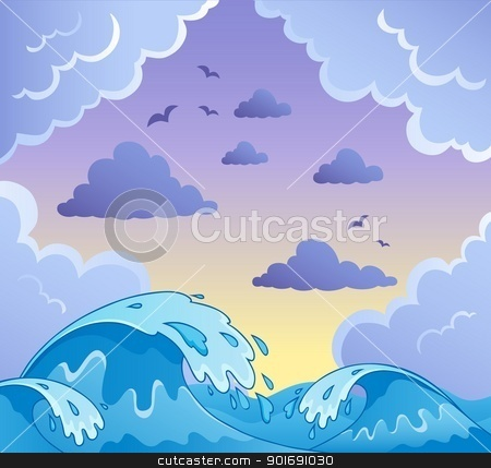 Waves theme image 2 stock vector clipart, Waves theme image 2 - vector illustration. by Klara Viskova