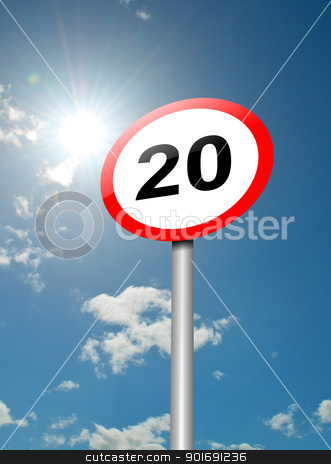 Speed limit sign. stock photo, Illustration depicting a speed limit road sign against blue sky and sunlight background. by Samantha Craddock