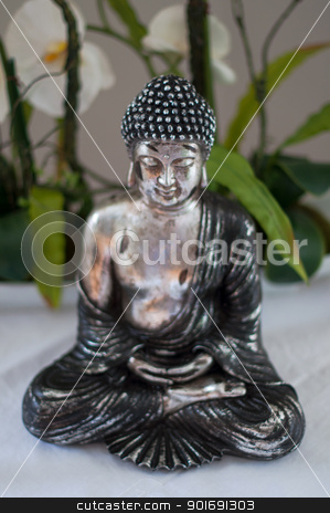 Meditation stock photo, Silver Buddha figure with calla lilies background - face with shallow dof by Frank G?