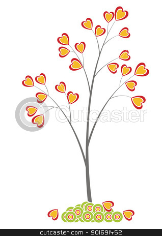 0250 heart tree stock vector clipart, Tree vith heart as leaves by vtorous