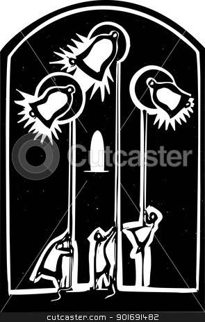 Church Bells stock vector clipart, Woodcut style image of Monks Ringing Bells ina cathedral. by Jeffrey Thompson