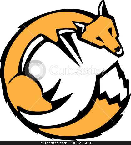 Curled Fox stock vector clipart, Simple image of red fox curled over it's tail. by Jeffrey Thompson
