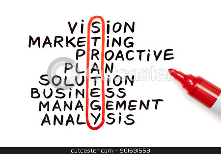 Strategy chart with red marker stock photo, The word Strategy highlighted with red marker in a handwritten chart  by Ivelin Radkov