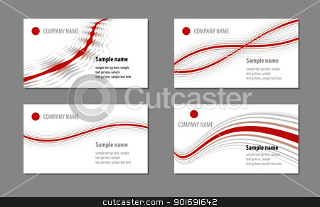 0324 business red waves stock vector clipart, Business cards templates by vtorous