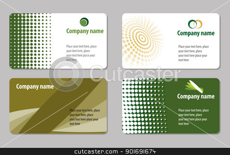 Business card template collection stock vector clipart, Green business cards templates collections by vtorous