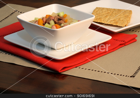 beef and vegetables soup  stock photo, beef and veggies healthy soup on fine linen table  by Raul Taborda